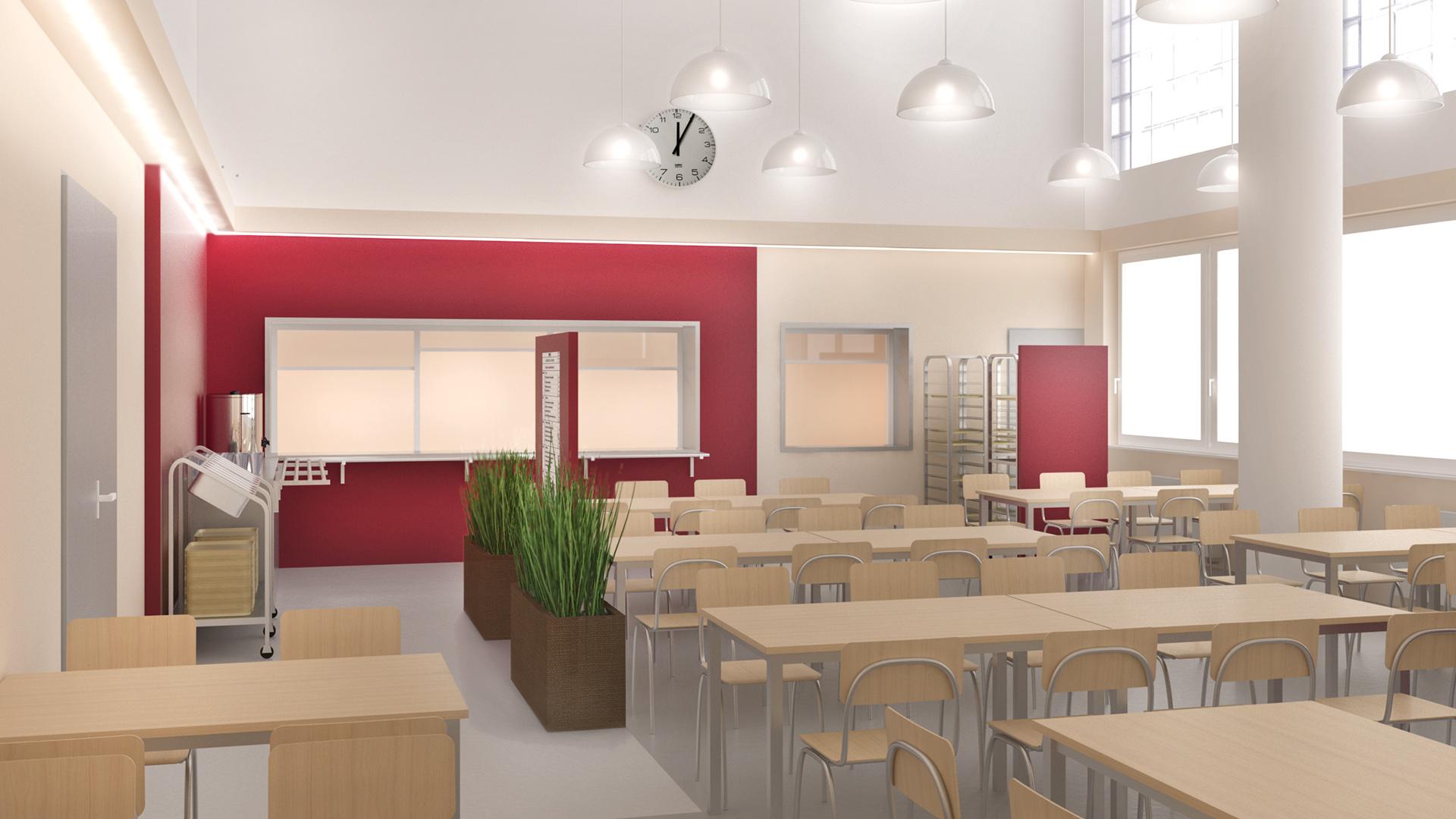 Architektonický návrh řešení rekonstrukce jídelny střední školy v Nuslích. Návrh spočívá v rozdělení místosti opticky svítidlama a designem podlahy z vinylu. Zavěšená svítidla v části