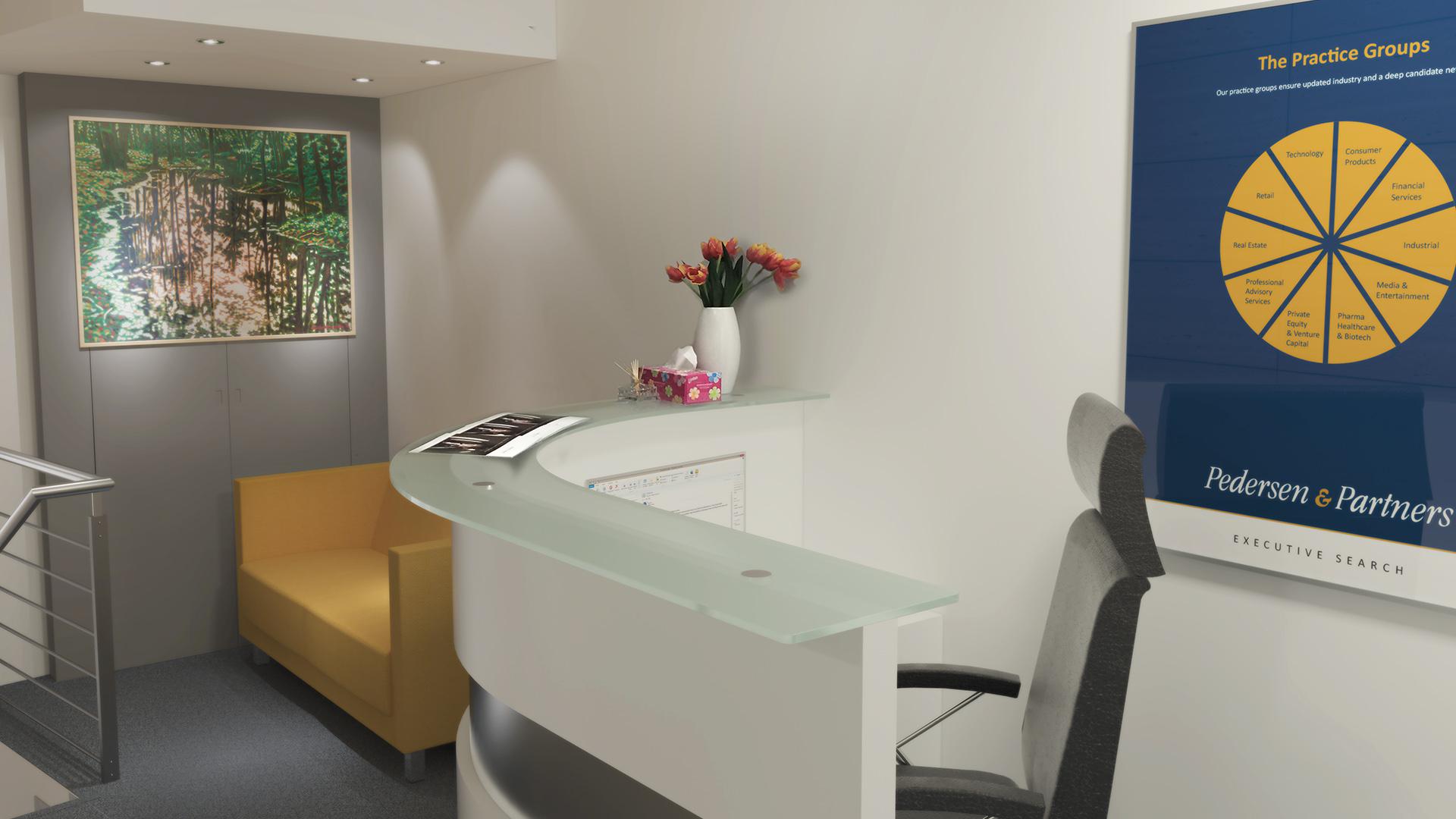 Realizace zasedací místnosti mezinárodní personální společnosti Pedersen & Partners na Příkopech v Praze. Nábytek je realizovaný dle návrhu. Decentní neutrální ladění v barvách a materiálech,