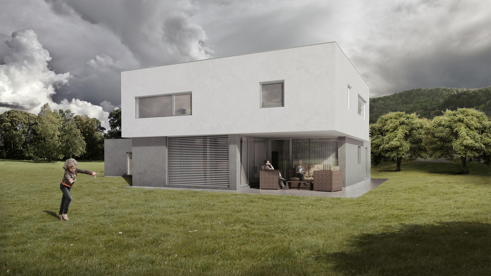 Vila v údolí o velikosti 6 + 1 + dvougaráž a pracovna má zastavěnou plochu 227 m2, patro má 128 m2 a horní terasa má 35 m2. Otevření domu do prostorné zahrady skýtá dostatek soukromí. Situování