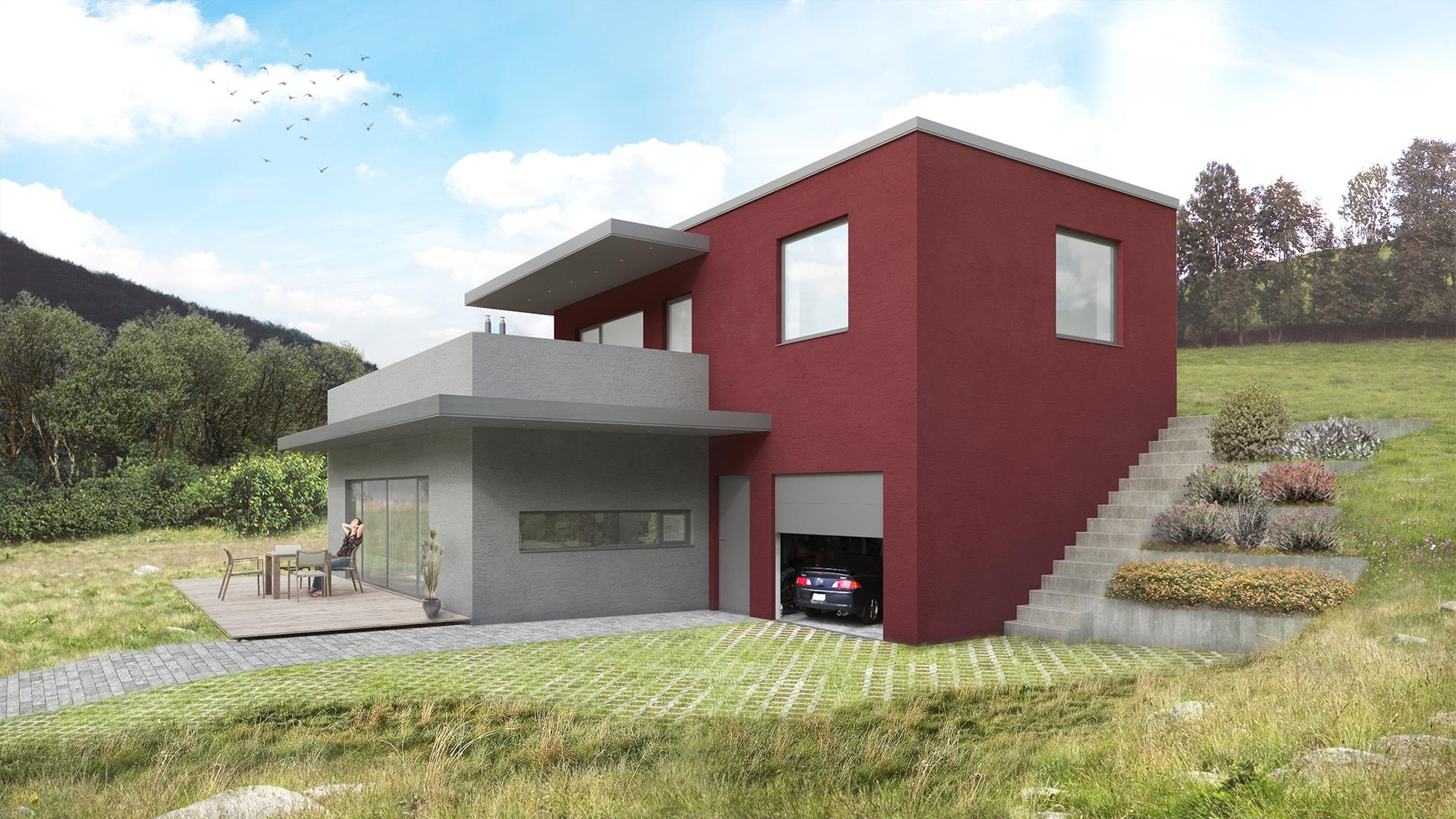 Vila ve svahu o velikosti 4 + 1 + garáž má zastavěnou plochu 119 m2, patro má 63 m2 a horní terasa je o rozloze 52 m2. Vstup do domu odděluje garáž a obývací místnosti. V přízemí je garáž,