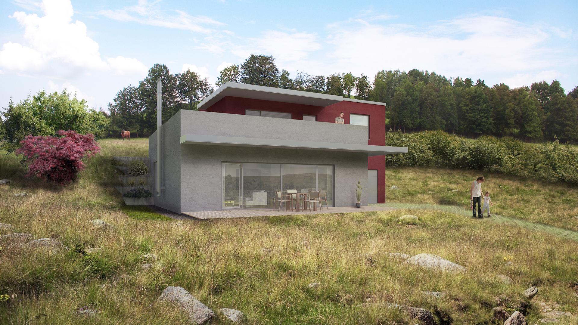 Vila ve svahu o velikosti 4 + 1 + garáž má zastavěnou plochu 119 m2, patro má 63 m2 a horní terasa je o rozloze 52 m2. Vila je zapuštěná do svahu a otevřená na jih, na severní straně svažitý