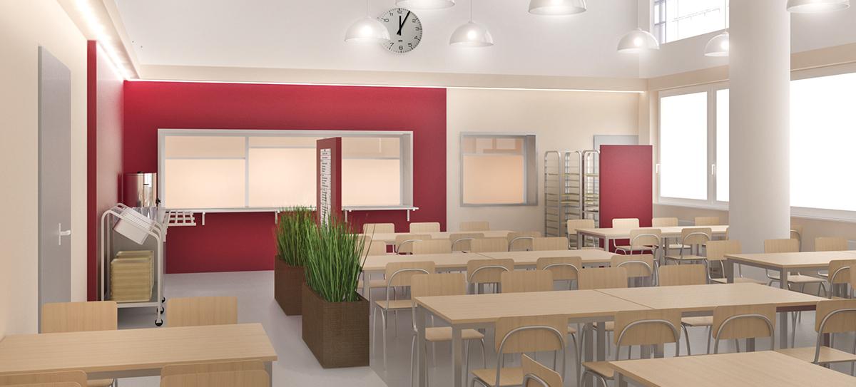 Architektonický návrh řešení rekonstrukce jídelny střední školy v Nuslích. Návrh spočívá v rozdělení místosti opticky svítidlama a designem podlahy z vinylu. Zavěšená svítidla v části místnosti jsou v kombinaci s pohledem, který ukrývá zářivky svítící lemující obvod mísnosti. Další část místnosti je osazena stropními svítidly.Vínově červená dává jídelně svěžest. V návrhu je pracováno z optickým rozdělením vstupu do jídelny tabulí s jídelním lístem a květinami ve velkých květnících. Vínově červené tabule zakrývají odkladní plochy pro tácy. Celý prostor jídelny tak zůstává čistý. Autor: Ing. arch. Marie Kulíková
