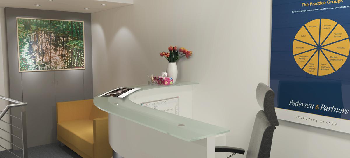 Realizace zasedací místnosti mezinárodní personální společnosti Pedersen & Partners na Příkopech v Praze. Nábytek je realizovaný dle návrhu. Decentní neutrální ladění v barvách a materiálech, bílá lesk, kov, šedá a sklo je zjasněno oranžovožlutou sedačky, která se objevuje na logu společnosti. Bodovky v podhledu příjemně osvětlují prostor sezení. Šedá kapotáž skříně za sedačkou začišťuje prostor. Recepční pult v kombinaci bílá lesk, kov a sklo doplňují posuvná skříň a police v bílém lesku. Doba realizace 3 týdny.