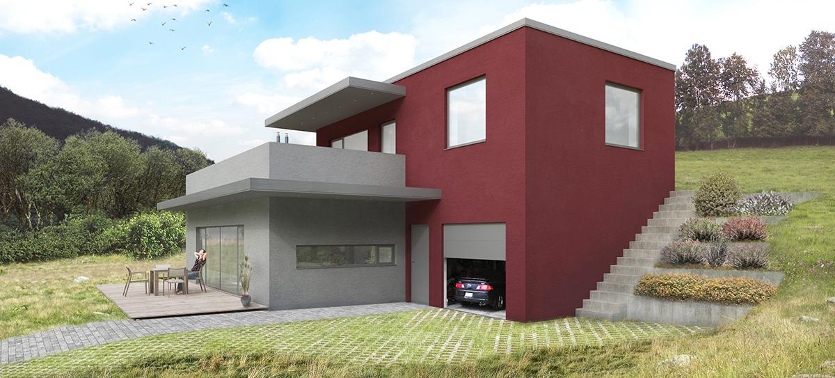 Vila ve svahu o velikosti 4 + 1 + garáž má zastavěnou plochu 119 m2, patro má 63 m2 a horní terasa je o rozloze 52 m2. Vstup do domu odděluje garáž a obývací místnosti. V přízemí je garáž, provozní místnosti, zádveří, hala, kuchyň s jídelnou a obývacím pokojem a pokoj pro hosty. V patře je pokoj, ložnice a koupelna s toaletou. Vstup na terasu je ze společné chodby a z ložnice. Autor: Ing. arch. Marie Kulíková