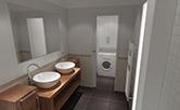 Celková rekonstrukce bytu v Praze v Bráníku. Změna dispozice koupelny a toalety umožnila zvětšit prostor celé koupelny a zároveň oddělit dveřma prostor toalety s pračkou v nice. Doba realizace 8 týdnů.