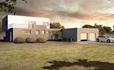 Vila v údolí o velikosti 6 + 1 + dvougaráž a pracovna má zastavěnou plochu 227 m2, patro má 128 m2 a horní terasa má 35 m2. Vstup do domu, na východní straně je přes zimní zahradu. Nalevo se vchází do obytné soukromé části, vpravo pak do garáží a do pracovny.  Přes zimní zahradu, která slouží nejen k relaxaci, ale také odděluje jednotlivé částí domu,je přímý vstup na zahradu.  Autor: Ing. arch. Marie Kulíková